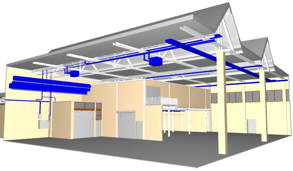 Abbildung eines 3d Modells für Umbaumaßnahmen vermessen per 3D-Laserscanning