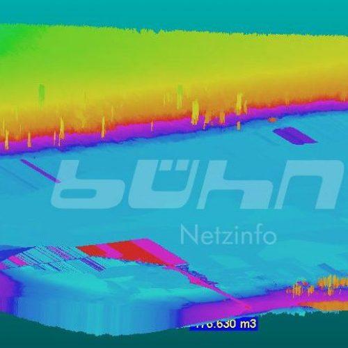 Abbildung Staumengenberechnung mit 3D-Laserscanning